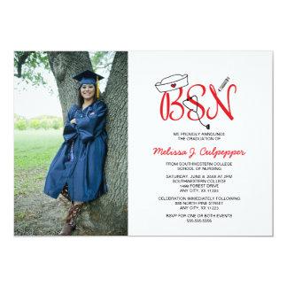 """Graduación de la foto de la enfermera de BSN que Invitación 5"""" X 7"""""""