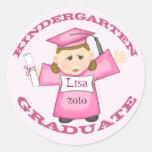 Graduación de la guardería del chica pegatina redonda