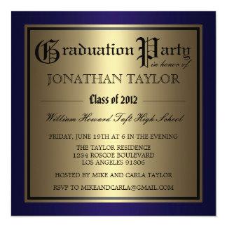 """Graduación de los azules marinos y del oro invitación 5.25"""" x 5.25"""""""