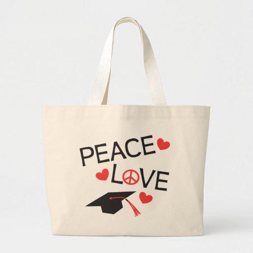 Graduación del amor de la paz bolsa tela grande