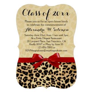 Graduación del arco del estampado leopardo/invitac invitación