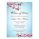 Graduación del azul del vintage de las flores de c invitaciones personales