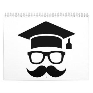 Graduación del bigote del estudiante calendario de pared