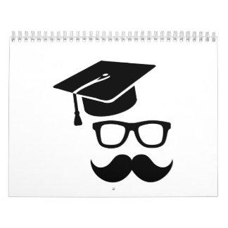 Graduación del bigote del estudiante calendarios de pared