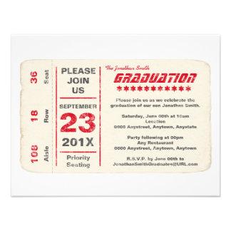 Graduación del boleto de la estrella de deportes invitación personalizada
