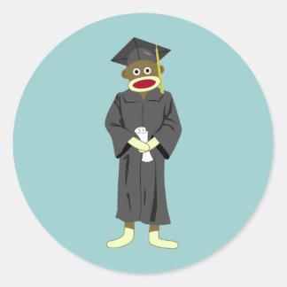 Graduación del mono del calcetín etiquetas