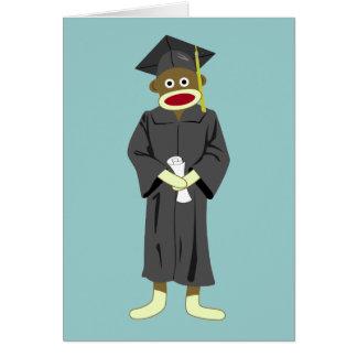 Graduación del mono del calcetín tarjeta de felicitación