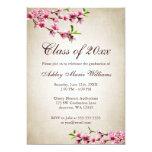 Graduación del moreno del vintage de las flores de invitaciones personales