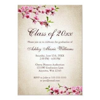 Graduación del moreno del vintage de las flores de invitación 12,7 x 17,8 cm