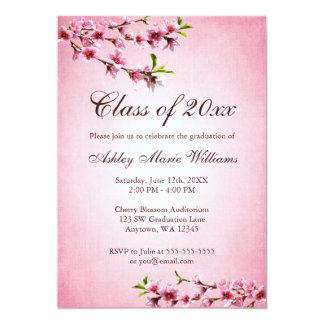 """Graduación del rosa del vintage de las flores de invitación 5"""" x 7"""""""