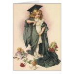 Graduación del vintage, clase de la enhorabuena de felicitacion