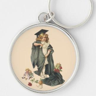 ¡Graduación del vintage, graduados de la Llavero Redondo Plateado