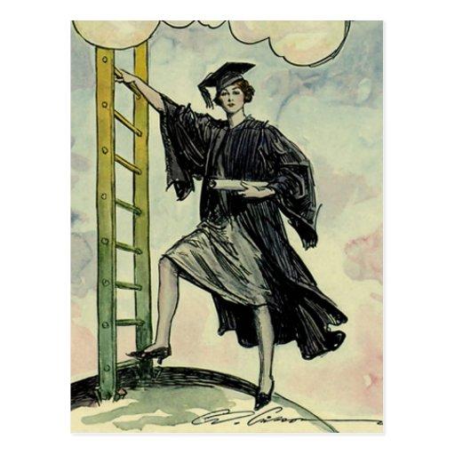 Graduación del vintage, subiendo la escalera corpo tarjetas postales
