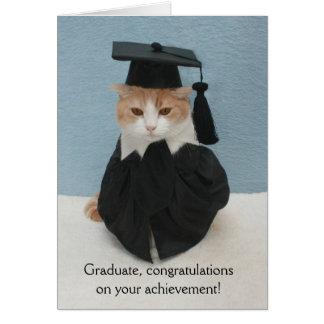Graduación divertida del gato tarjeta de felicitación