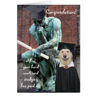 Graduación divertida del pensador y del perro felicitaciones