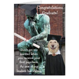 Graduación divertida del pensador y del perro tarjeta