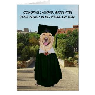Graduación divertida del perro/del laboratorio de tarjeta de felicitación