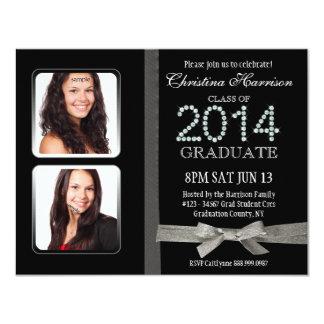 Graduación doble atractiva 2014 de la foto del invitaciones personalizada