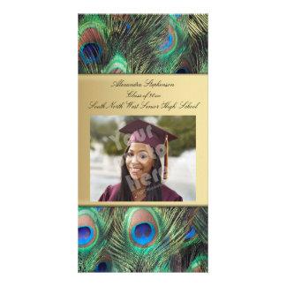 Graduación elegante de la pluma del pavo real del plantilla para tarjeta de foto