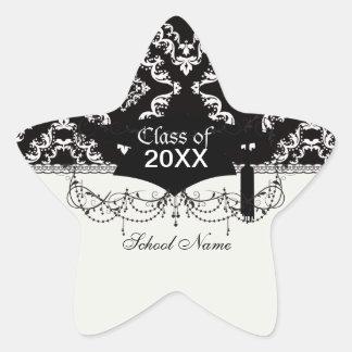 graduación elegante del blanco del negro del pegatina en forma de estrella