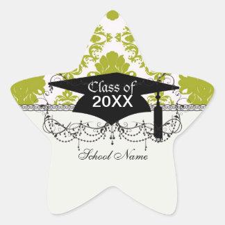 graduación elegante romántica del damasco del pegatina en forma de estrella