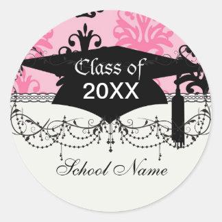 graduación elegante rosada y negra del tono dos de pegatina redonda
