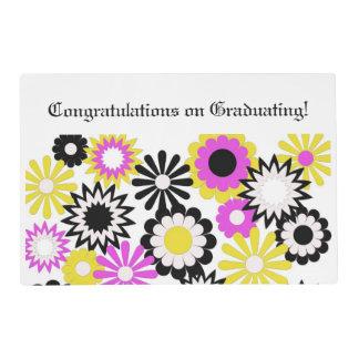 Graduación, estera de lugar de papel, floral, tapete individual