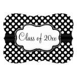 Graduación/fiesta blancos negros elegantes del invitacion personal