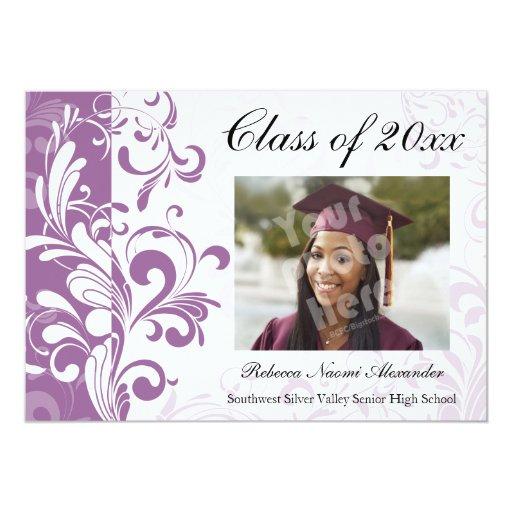 Graduación/fiesta imponentes púrpuras de la foto invitación 12,7 x 17,8 cm