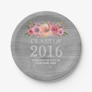 Graduación floral 2016 de la acuarela rosada de platos de papel