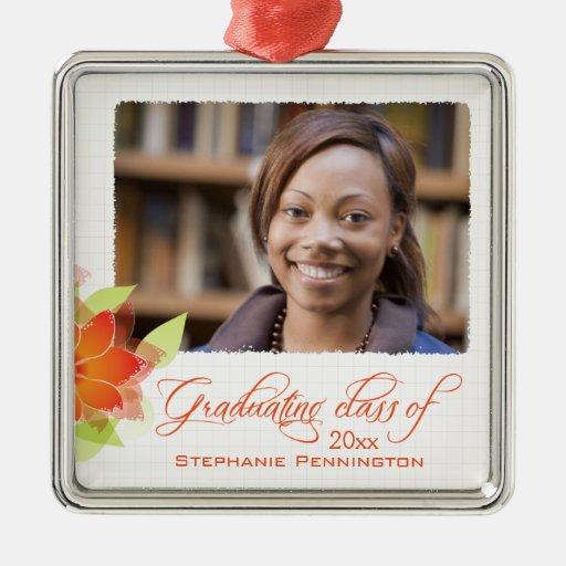 Graduación floral anaranjada personalizada de la f ornamentos de navidad
