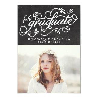 """Graduación floral caprichosa de la pizarra de la invitación 5"""" x 7"""""""