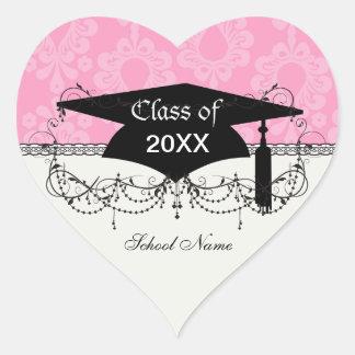 graduación floral del damasco del rosa en colores pegatina corazón