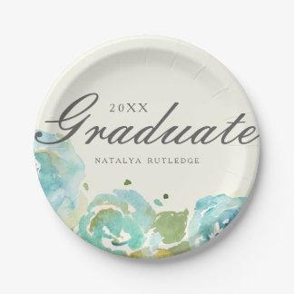 Graduación floral pródigo platos de papel