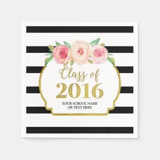 Graduación floral rosada 2016 de las rayas negras servilleta desechable