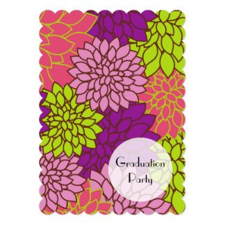"""Graduación - flores de la dalia - verde púrpura invitación 5"""" x 7"""""""