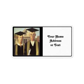 Graduación gótica americana etiqueta de dirección