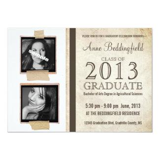 """Graduación grabada de la foto de la pizarra 2 invitación 4.5"""" x 6.25"""""""