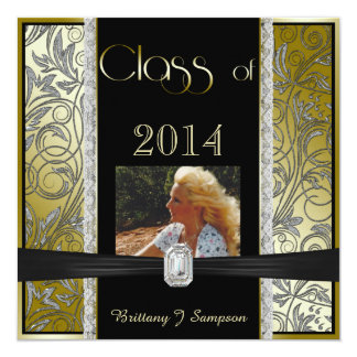 """Graduación imponente 2014 del marco de la foto del invitación 5.25"""" x 5.25"""""""