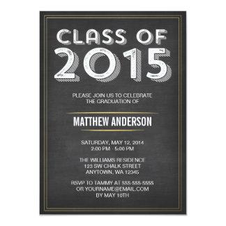 """Graduación intrépida 2015 del oro de la pizarra invitación 4.5"""" x 6.25"""""""