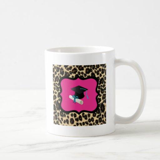 Graduación - leopardo/guepardo rosados taza de café