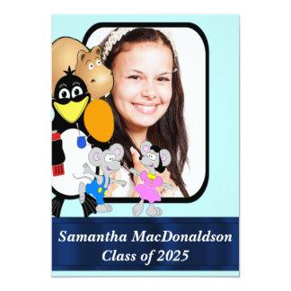 """Graduación linda de la foto del dibujo animado de invitación 5"""" x 7"""""""