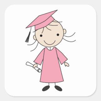 Graduación linda de la guardería del chica pegatina cuadrada