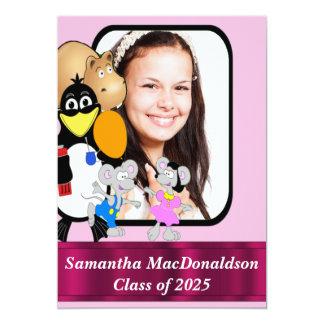"""Graduación linda divertida de la foto del dibujo invitación 5"""" x 7"""""""