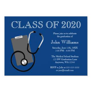 """Graduación médica del azul de la escuela de invitación 5"""" x 7"""""""
