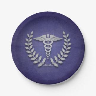 Graduación médica del caduceo azul y de plata plato de papel de 7 pulgadas