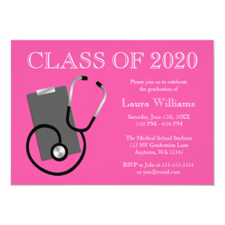 """Graduación médica del rosa de la escuela de invitación 5"""" x 7"""""""