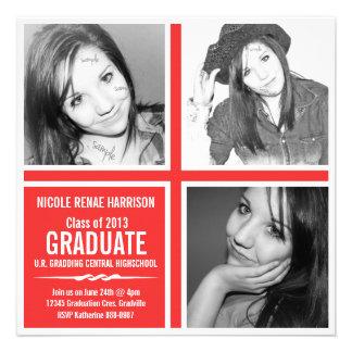 Graduación moderna 2013 de las fotos del rojo 3 de invitación