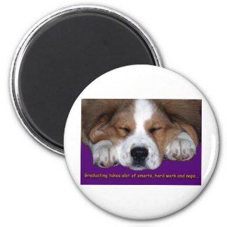 Graduación Napping del perro Imán Redondo 5 Cm