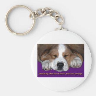 Graduación Napping del perro Llavero Redondo Tipo Pin